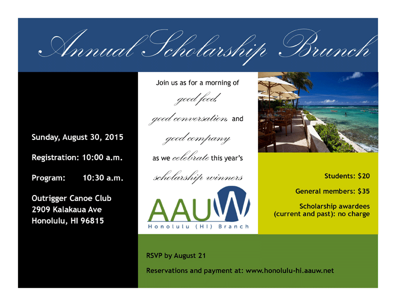 2015 AAUW Honolulu Annual Scholarship Brunch Flyer