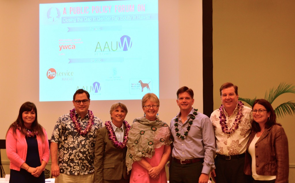 Left to Right:   Catherine Betts, Executive Director/Hawaii State Commission on the Status of Women; Colin Moore, Assistant Professor/Department of Political Science at University of Hawaii at Manoa; Linda Hamilton Krieger, Chairperson/Hawaii Civil Rights Commission and Professor of Law/William S. Richardson School of Law; Susan J. Wurtzburg, Chair / AAUW-Honolulu Advocacy Committee and Policy Chair / AAUW-Hawaii; Benjamin Godsey, President / ProService Hawaii; Steven Petranik, Editor / Hawaii Business Magazine; Jeannine Souki, Advocacy Committee Co-Chair / YWCA of Oahu (Photo Credit: YWCA of Oahu)